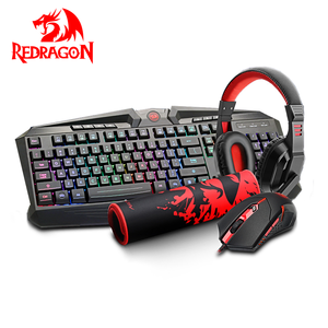 Redragon Set Headset Game, Keyboard dan Mouse Gaming RGB LED Kombo, Kabel Komputer