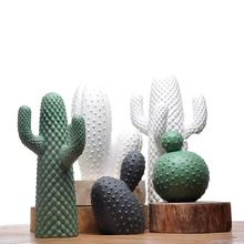 Fancy Mexico cactus ornaments embossed  pattern solid   ceramic modern home decor