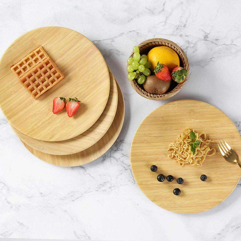 Bamboo Plates Eco-friendly Reusable Dinnerware Sets for Home Picnic