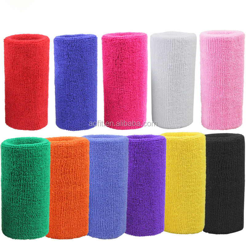 Unisex Custom Cotton Terry Knit Wrist Sweat Bands, Popular Sports Wrist Brace