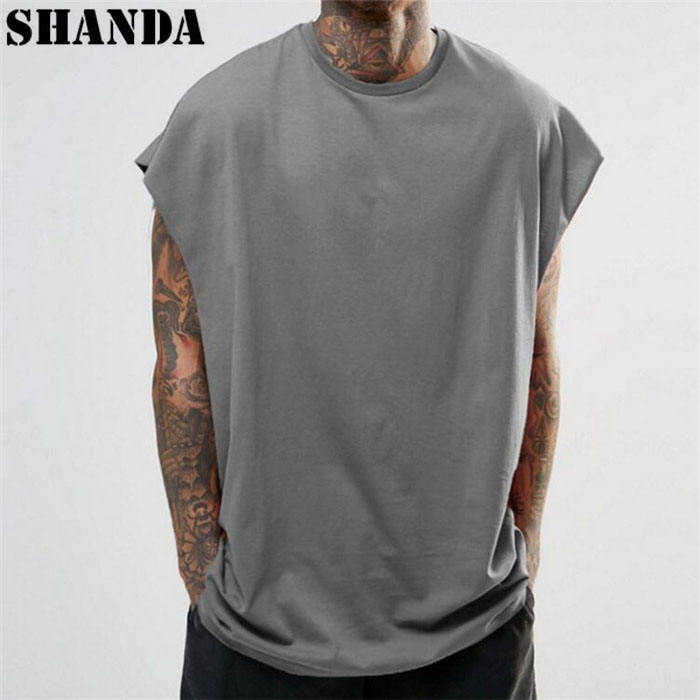 High quality hip hop clothes sleeveless dropped armhole mens t shirts oversize