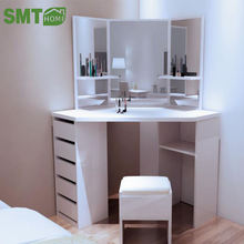 Simple Modern Furniture Dressing Table 5-Drawer Makeup Dresser Set With Mirror White
