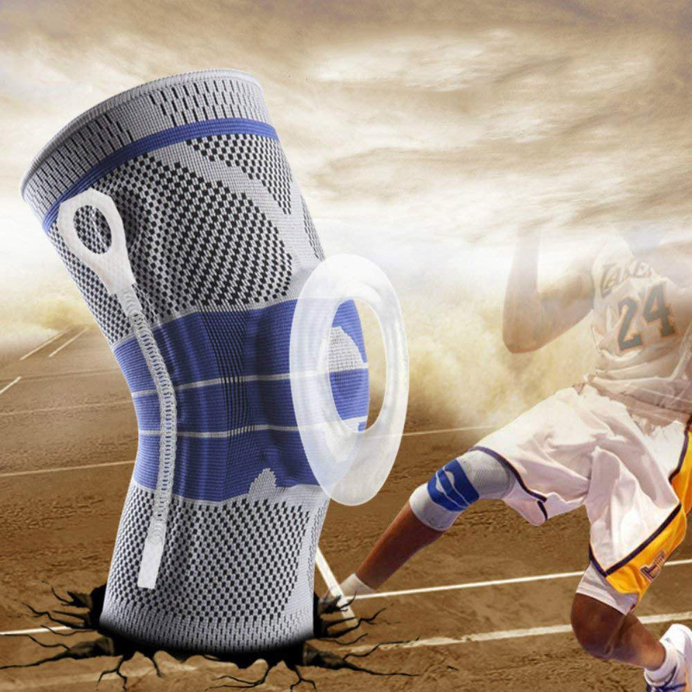 Knee Support Sleeve with Silicone Pad and Metal Brace for Running Jogging Sports Basketball Joint Pain Relief Arthritis