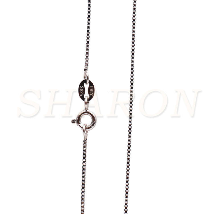 Wholesale S925 Pure Sterling Silver Italy Box 18 Inch Necklace Chain