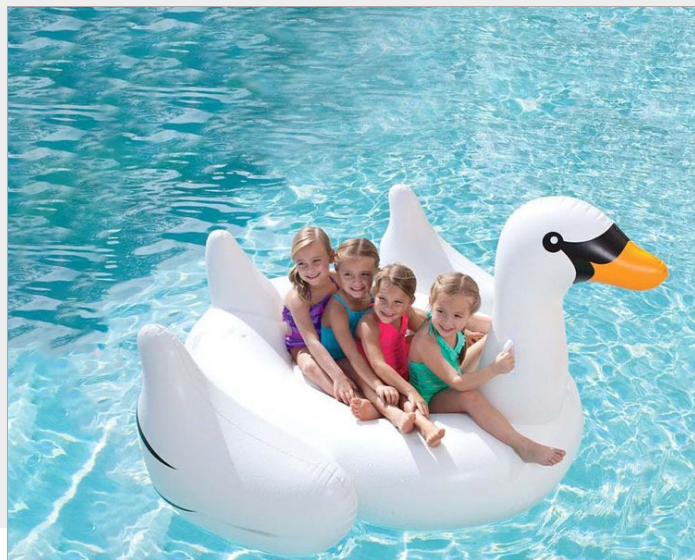 Factory wholesale inflatable swan swimming pool float summer holiday water toys