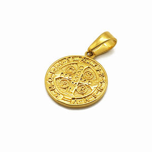 Wholesale 18k Gold Plated Custom Logo Engraved Gold Coin Men Pendant for Necklace