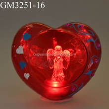 Led Lovely Light Glass Heart Shaped Gifts with Angel Inside