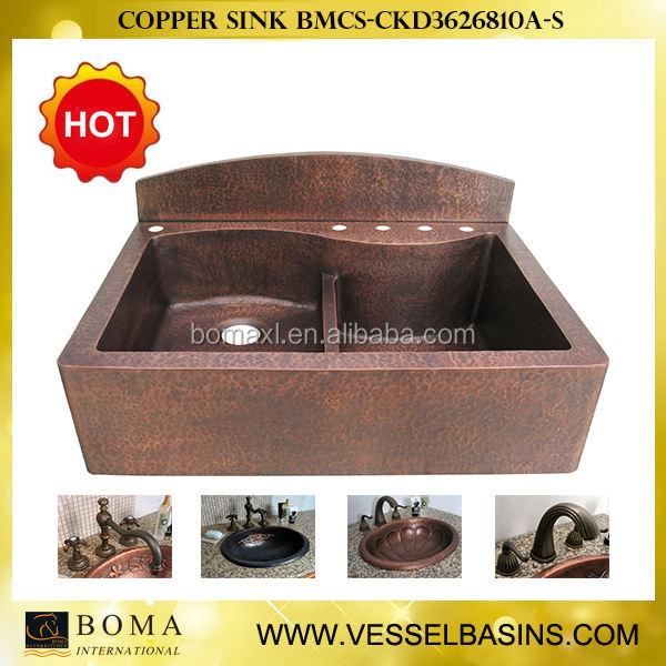 Kunden handgehämmert Zwei bowl antique <span class=keywords><strong>Kupfer</strong></span> spülbecken
