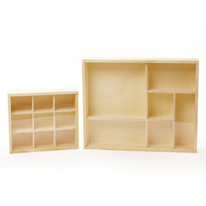 Natural Pine Wood 9 Section Trays With Clear Sliding Top Wooden Storage Box