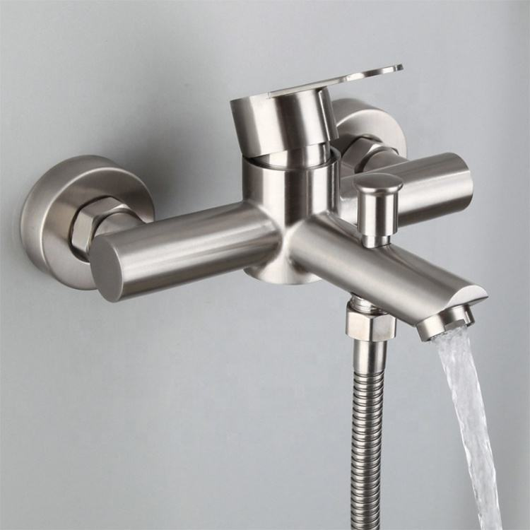 Built In Wall Shower Mixer Sink Faucet 304 Basin Faucet Stainless Steel
