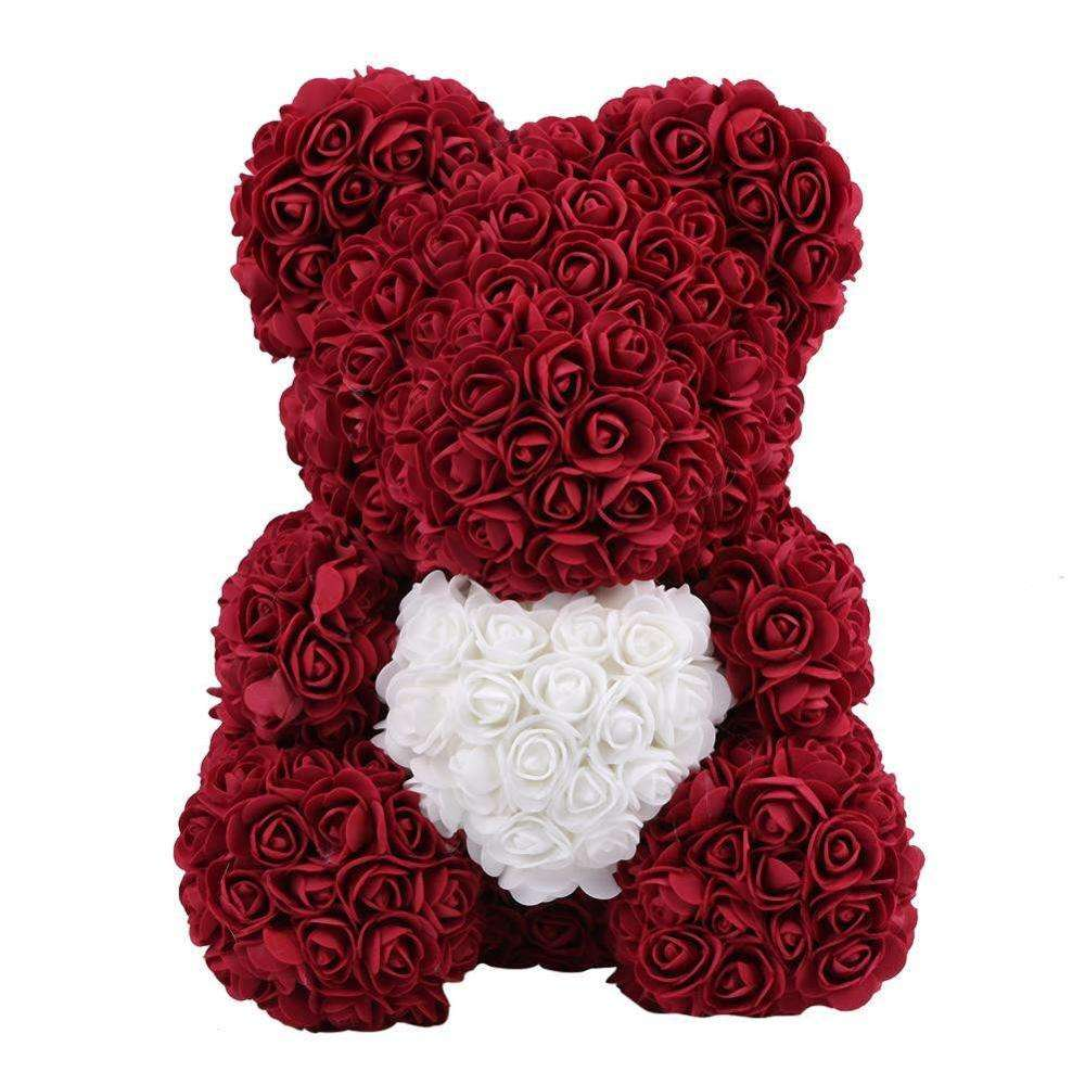 New Products Artificial Wedding Valentine'S Day Rose Preserved Flower PE Bear Toy Gift