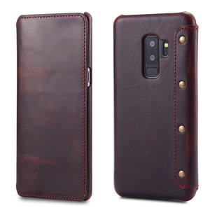 Laudtec Genuine Leather Wallet Folio Case with Stand and Credit Card for Samsung Galaxy S9 Plus