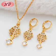 Fashion earring chain necklace set, women wedding chinese gold african jewelry set made with nice cubic zircon