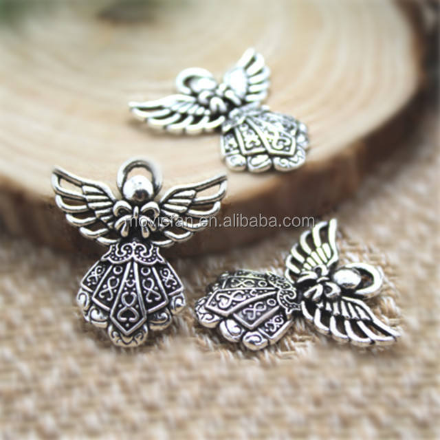 Angel Charms Antique Tibetan silver Angel Charms pendants DIY Supplies 26x24mm