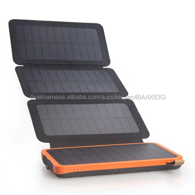 100% Sạc Đầy Đủ bởi Á<span class=keywords><strong>nh</strong></span> Nắng Mặt Trời Có Thể Gập Lại Waterproof Solar Power Banks 16000 mah Solar Power Battery Charger
