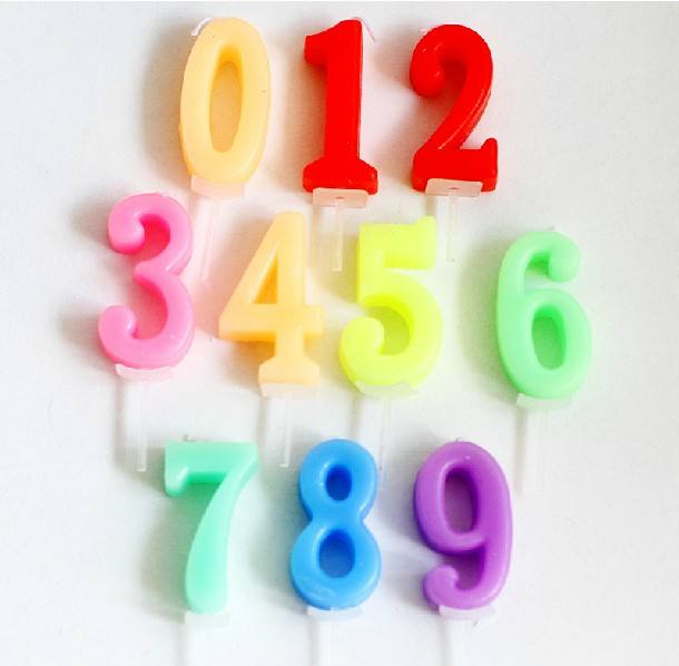 Color birthday cake number candle