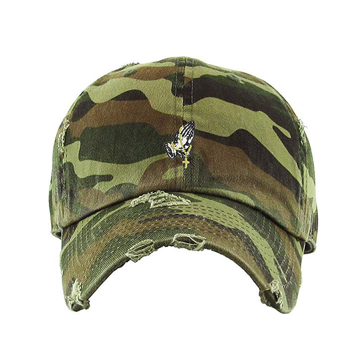 Custom Camo Distressed Dad Hat Praying Hands Rosary Dad Hat Baseball Cap Unconstructed Polos Style Adjustable 100 Cotton Hat