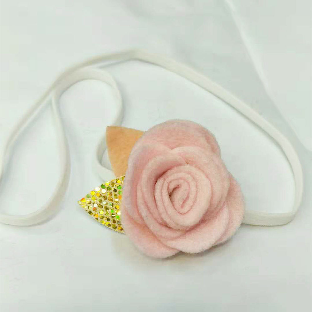 Nylon Felt Baby Headband with Gold Leaf Girls Elastic Hairband Flowers Hair Bow Headbands Kids Hair Accessories Bobocrafts