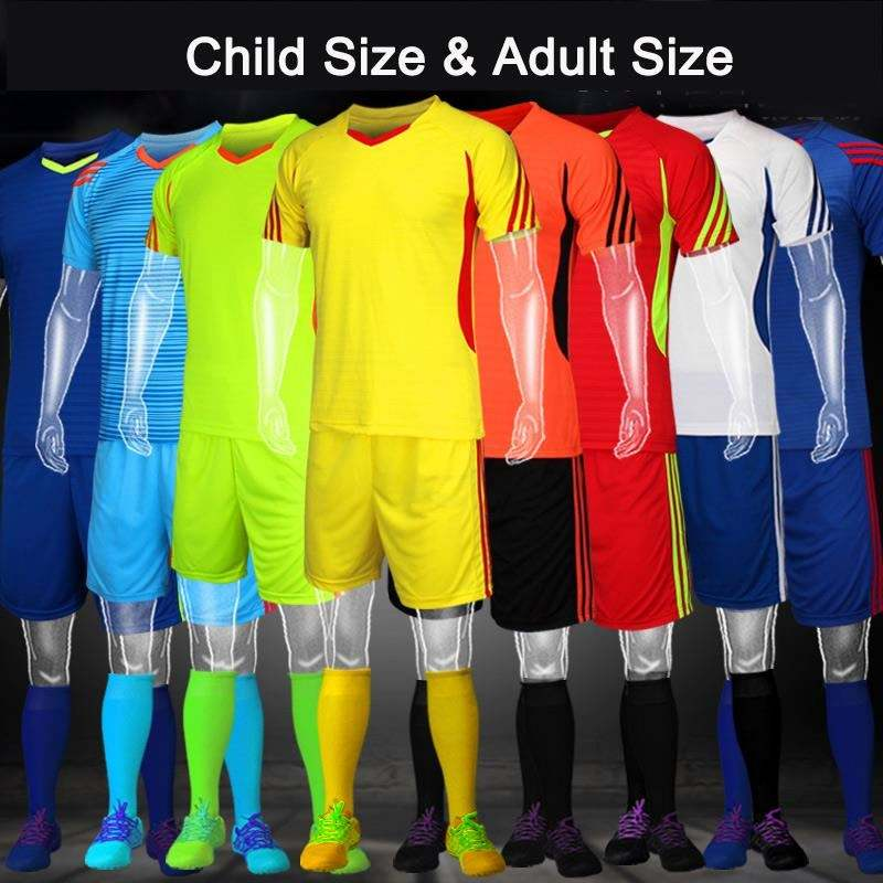 Customized Team Soccer Uniforms Kids/Child/Adult jerseys Soccer Suit for Foot Training Men Sports