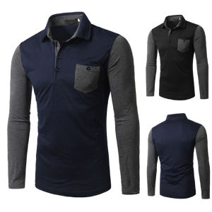 Custom Mens Long Sleeve Polo Shirt With Pocket