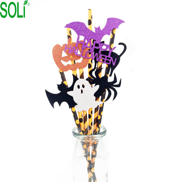 Halloween party Pumpkin paper Straw Party Dessert home decoration