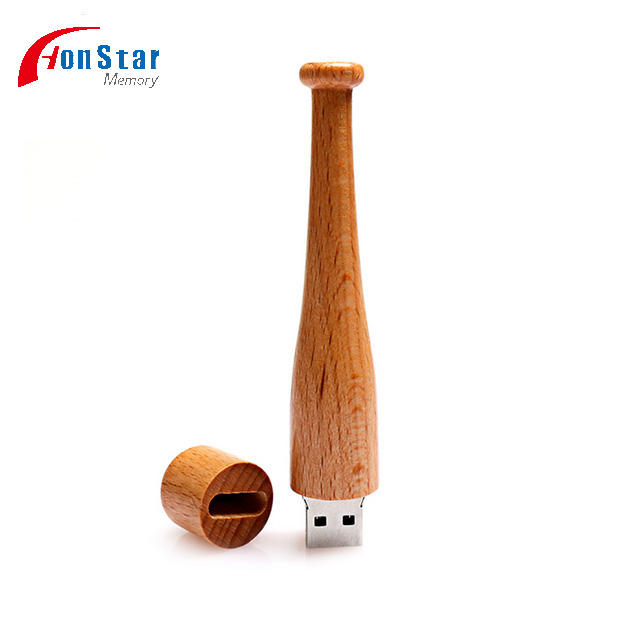 Baseball bat 4gb 8gb 16gb 32gb flash usb 2.0 wooden usb flash stick