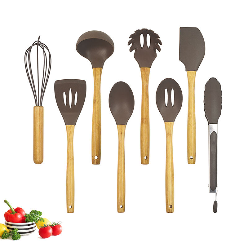 China Factory New Design Cooking Tools Wholesale Silicone Kitchen Utensil Set With Bamboo Wood Holder