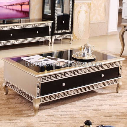 Luxury European New Classic Living Room Coffee Table With Drawers/ Antique Wood Carving Retro Central Coffee Table Designs