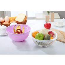 Double Layers food grade  PP Fruit and Vegetables Drain basket for Kitchen