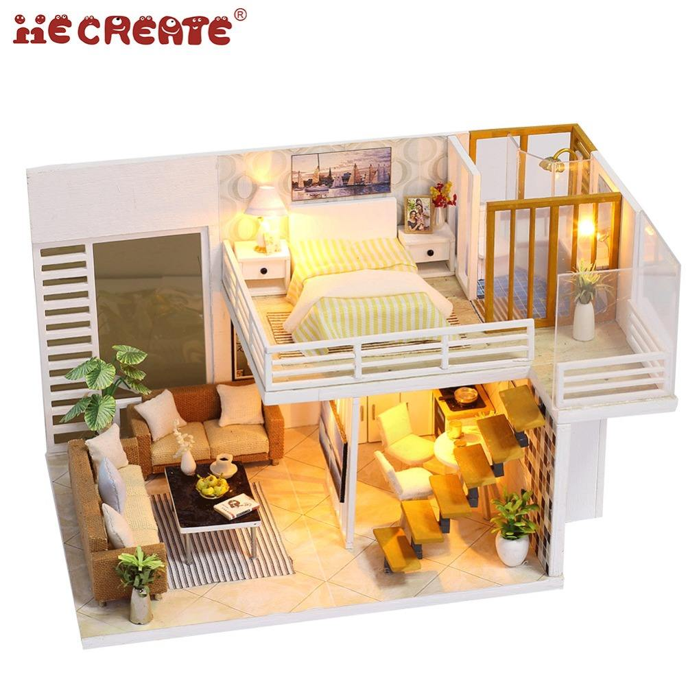Retail Gift Children Wooden Dolls House Dollhouse Miniature Villa