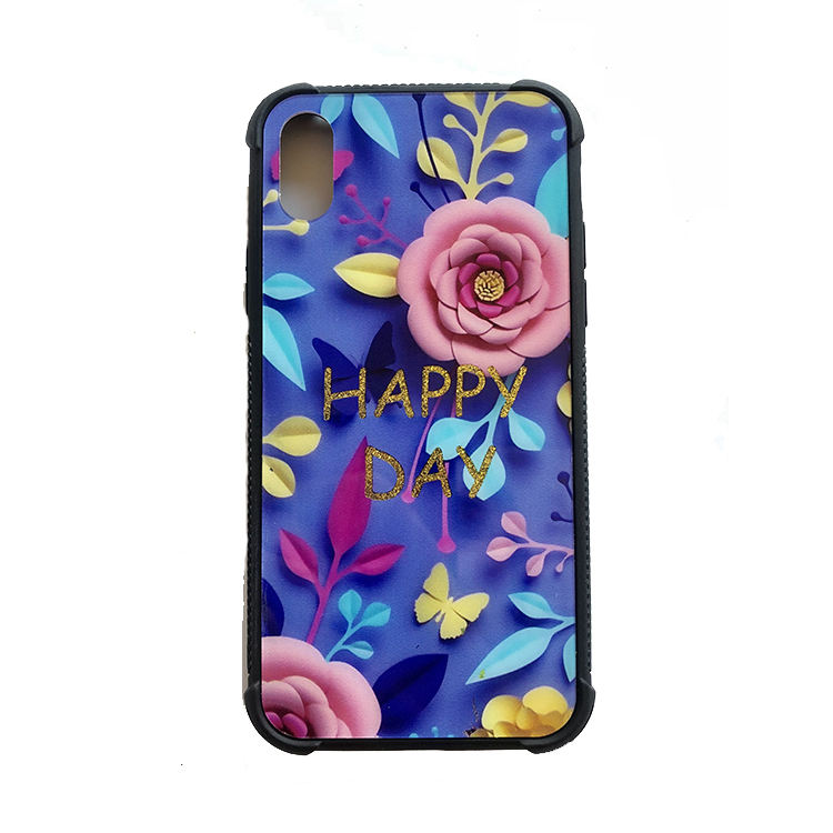 Fashion particular art printing glass case shockproof anti-slip side mobile phone back cover custom phone printing case