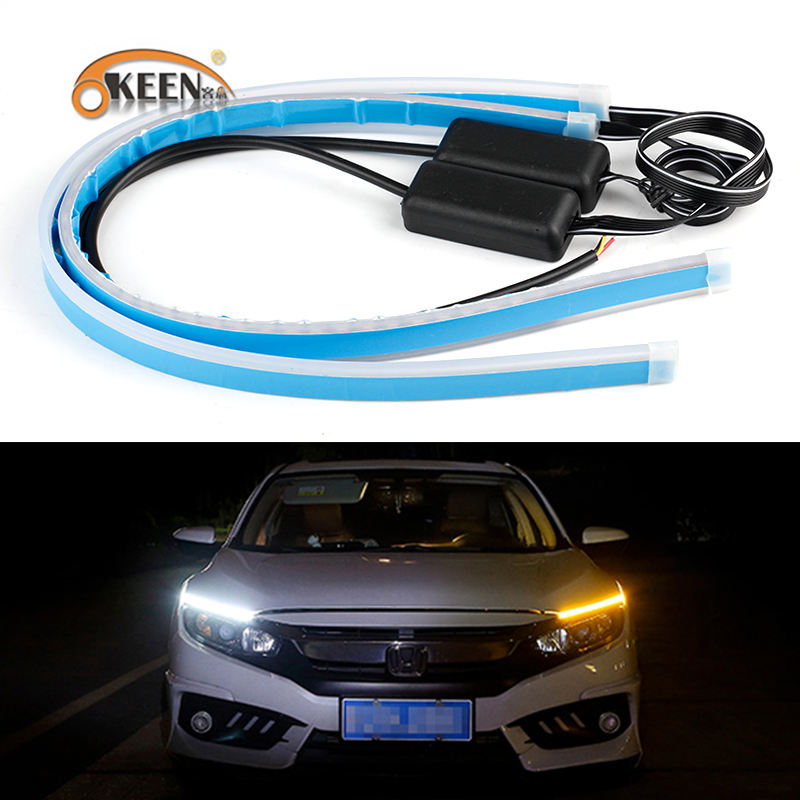 KEEN 30cm 45cm 60cm LED Strip Lights 12V DRL Running Light Amber Sequential Flash H/L LED Headlight strip Waterproof