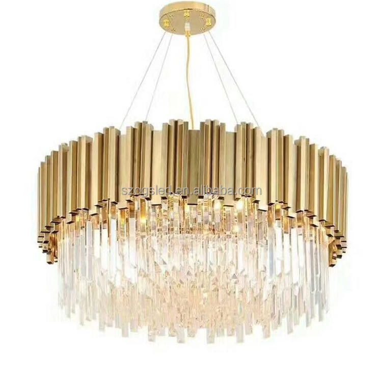 Chandeliers and Lamps Modern Stainless Steel Lamp Body and Clear Crystal Lamp