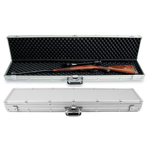 New manufacturer Silver Aluminum Gun Chrome Locks Hard carrying Rifle fireproof gun case for Pistol Safety Storage