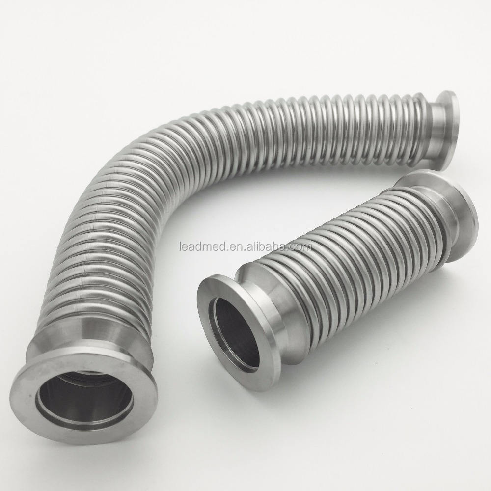 vacuum fittings seamless pipe SUS304 KF flexible corrugated bellow hose