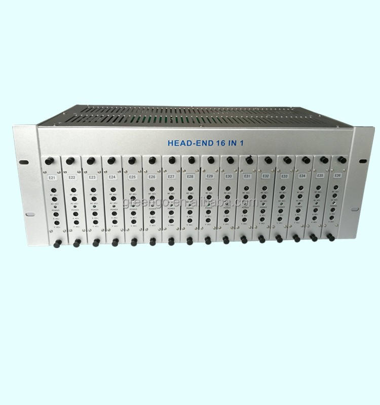 GG-16M Tetap channel CATV headend RF modulator 16 saluran 16 in 1 modulator