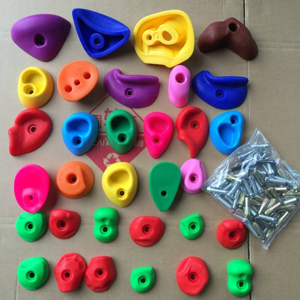 Kids plastic material climbing wall hold 32 pcs per carton ,cheap rock climbing holds,Rocking climbing wall hold