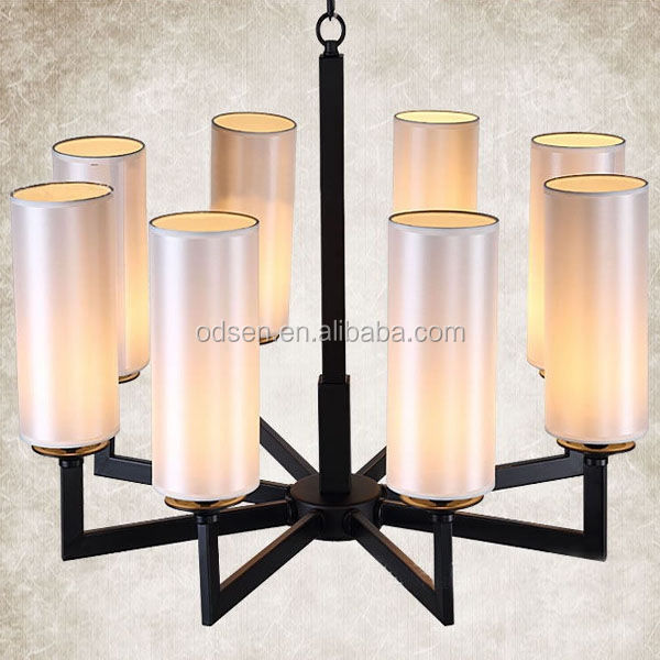 Coffee shop white tube shape glass chandelier lamp