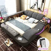 new design home furniture bedroom tatami bed set design with music led light safe box bluetooth massage speaker locker cabinet