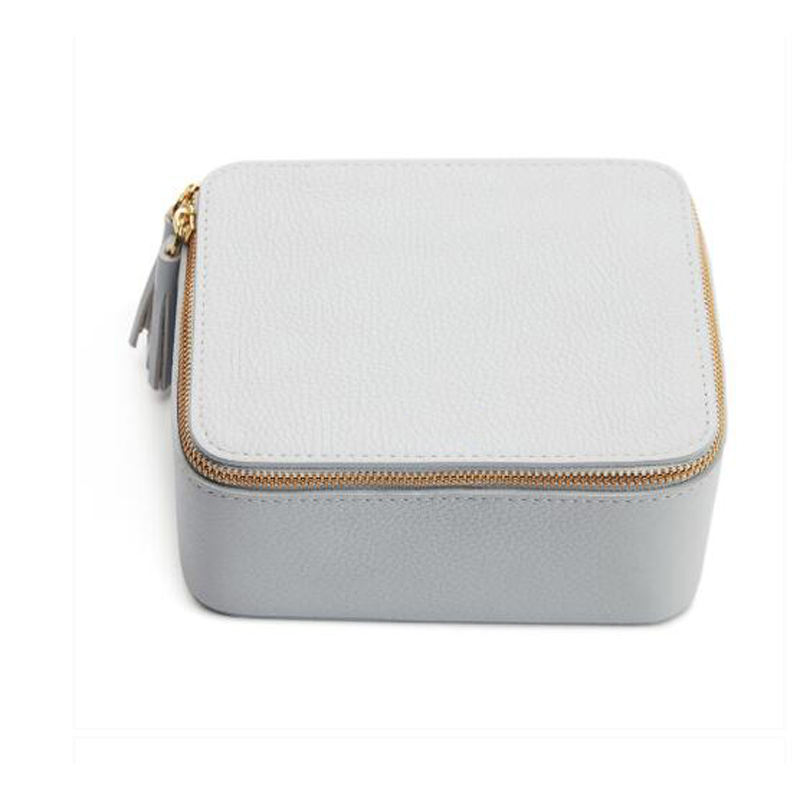 High Quality Pu Leather Travel Small Jewelry Case Storage Box With Zipper