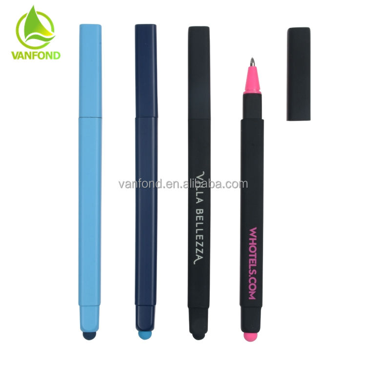 Hotel Custom Promotional Plastic Soft Rubber Square Ball Point Pen with Cap