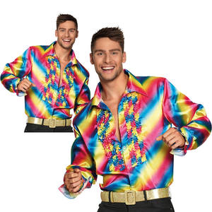 Mens 70s Saturday Night Rainbow Pride Carnival Party Shirt Fancy Dress Costume CE079