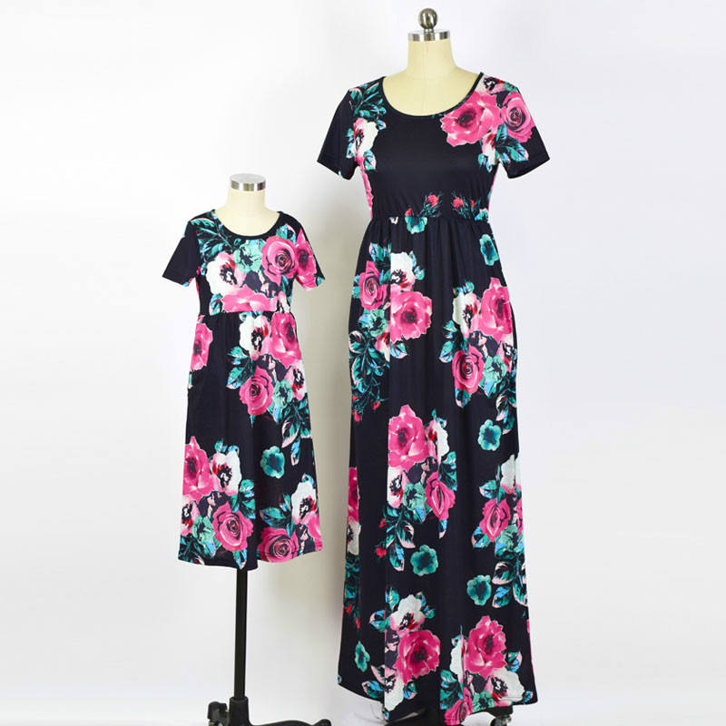 Mother Daughter Dresses Fashion Floral Print Short Sleeve Mom and Me Clothes Family Matching Outfits Ankle length Dress