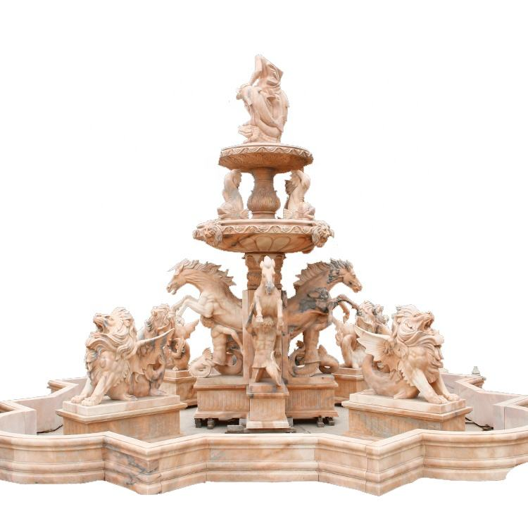 Statues [ Fountain ] Garden Stone Statue Large Garden Marble Antique Stone Outdoor Water Fountain Statue