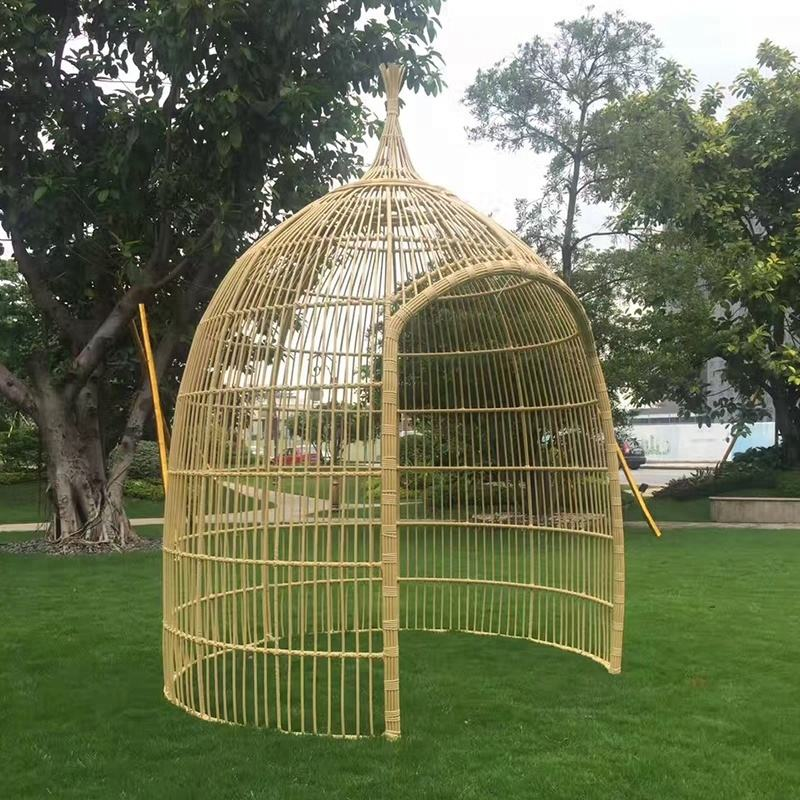 Outdoor Garden Chinese Traditional Decorative Park Rattan Gazebo