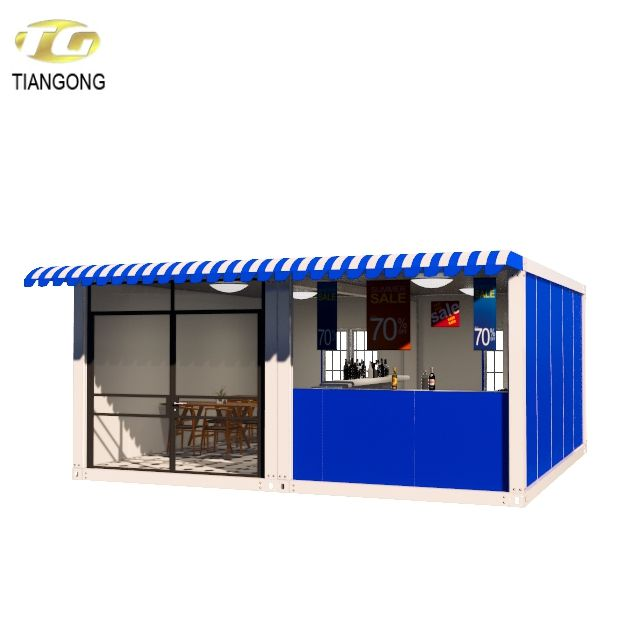 Hydraulic system 40ft shipping container coffee shop,Outdoor fast food kiosk ,Restaurant,mobile kitchen
