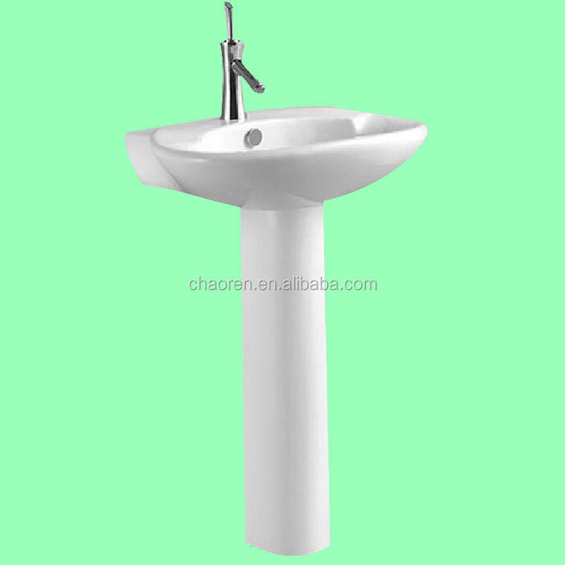 China sanitary ware hotel bathroom ceramic wash basin pedestal sink with cheap price