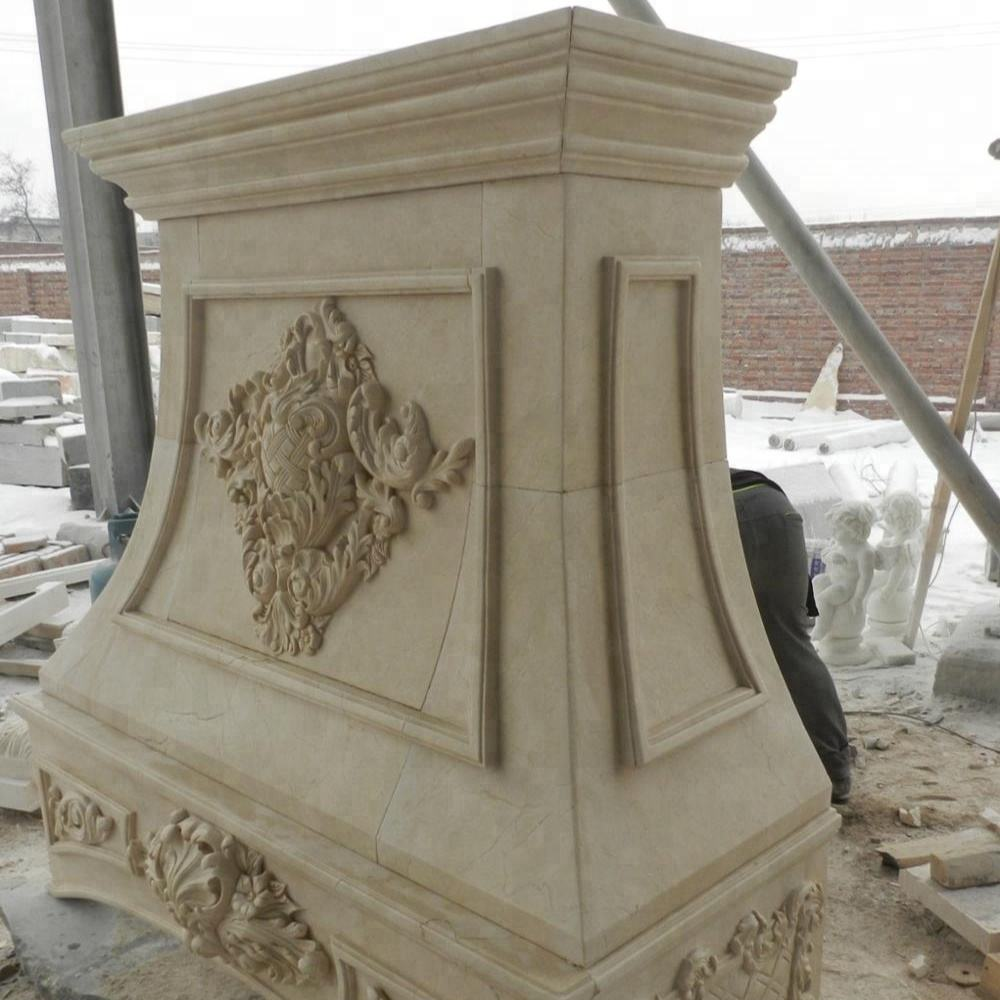 Customized hand carved kitchen marble range hoods