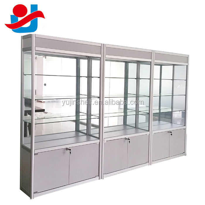 Titanium Alloy glass stand display/used glass display cases/glass display showcase