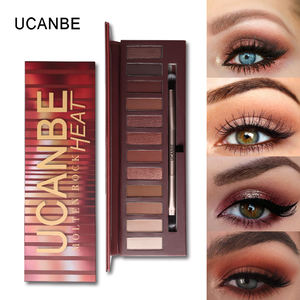 UCANBE Brand Makeup 12 Colors Matte Molten Rock Heat Eyeshadow Palette Shimmer Smoky Eyes Shadow with Brush Set Smooth
